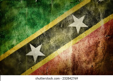 flag of Saint Kitts and Nevis. Old vintage paper texture.