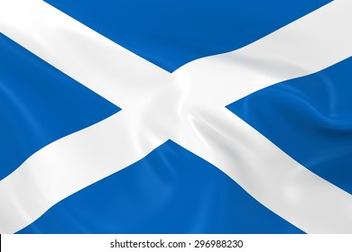 Flag of Scotland - 3D Render of the Scottish Flag with Silky Reflective Texture