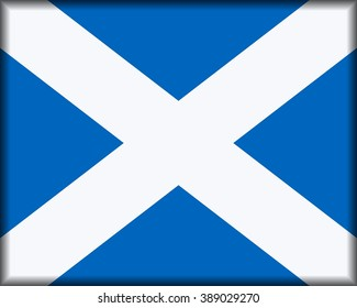 Flag of Scotland, Saltire of St Andrew, button with official colour and ratio 4:5.