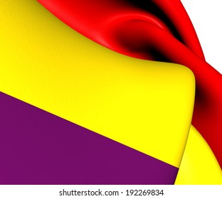 Flag of Second Spanish Republic. Close Up.