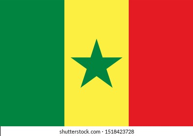 Flag of Senegal in green yellow and red color and green star