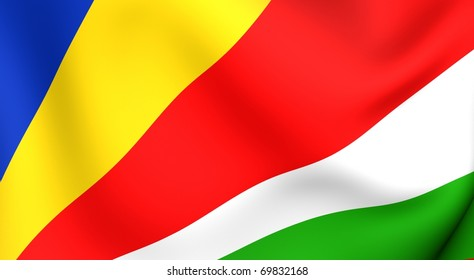 Flag of the Seychelles. Close up.