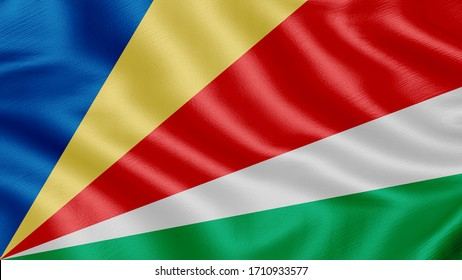 Flag of Seychelles. Realistic waving flag 3D render illustration with highly detailed fabric texture.
