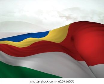 Flag of the Seychelles shot while waving elegantly over an abstract sky.3D Rendering