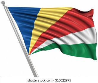 Flag of Seychelles , This is a computer generated and 3d rendered image.