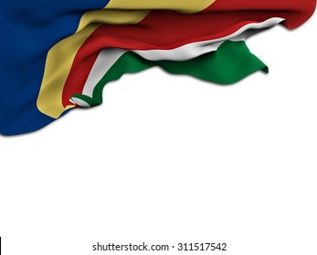 Flag of the Seychelles waving and fluttering on white background