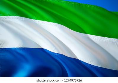 Flag of Sierra Leone. 3D Waving flag design. The national symbol of Sierra Leone, 3D rendering. The national symbol of Sierra Leone background wallpaper. 3D ribbon, wallpaper, pattern background