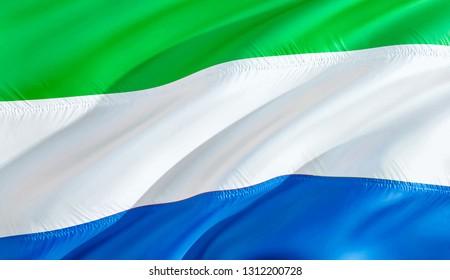 Flag of Sierra Leone. 3D Waving flag design. The national symbol of Sierra Leone, 3D rendering. Sierra Leone 3D Waving sign design. Waving sign background wallpaper. 3D pattern background HD wallpaper