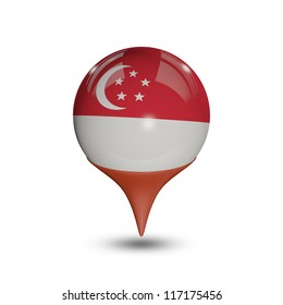 Flag of Singapore pin isolated on white.