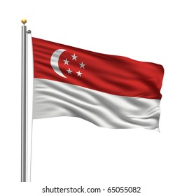 Flag of Singapore with flag pole waving in the wind over white background