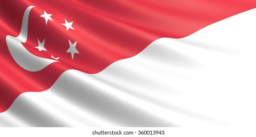 Flag of Singapore waving in the wind.