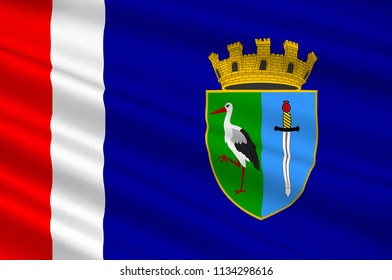 Flag of Sisak-Moslavina County is a Croatian county in eastern Central Croatia and southwestern Slavonia. 3d illustration