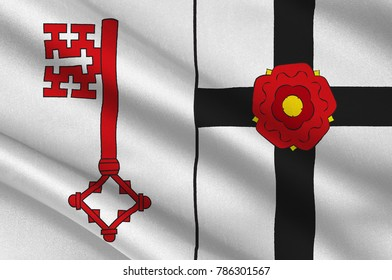 Flag of Soest is a district in the middle of North Rhine-Westphalia, Germany. 3d illustration