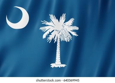 Flag of South Carolina, US state. 3D illustration of the South Carolina flag waving.