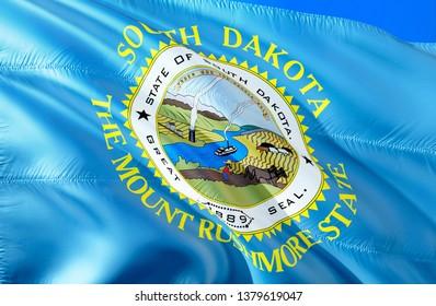 Flag of South Dakota. 3D Waving flag desigSouth Dakota flag state. 3D Waving flag design. US state flags of South Dakota and Pierre, 3D rendering. The national emblem of South Dakota background