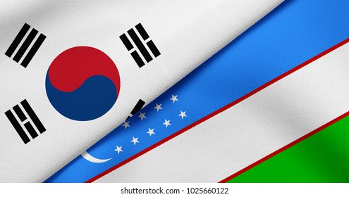 Flag of South Korea and Uzbekistan