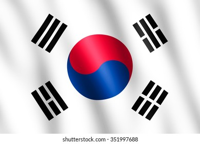 Flag of South Korea waving in the wind giving an undulating texture of folds in the fabric. The Image is in the official ratio of the flag - 2:3.
