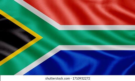 Flag of South-africa. Realistic waving flag 3D render illustration with highly detailed fabric texture.