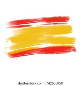 Flag of spain, acrylic brush on white background.