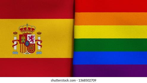 Flag of Spain and Rainbow flag (LGBT movement)