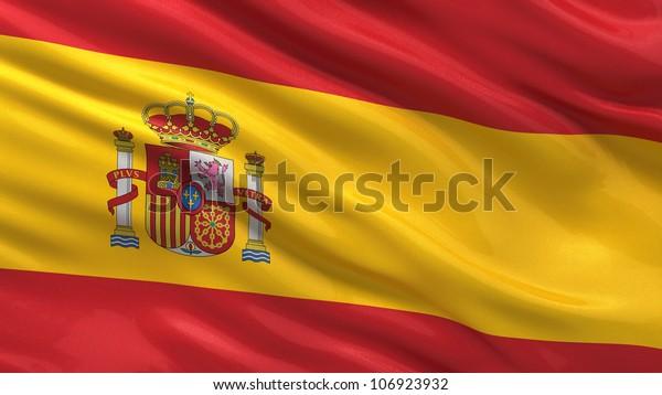 Stockillustration 106923932 Med Spaniens Flagga Vinka I Vinden Med