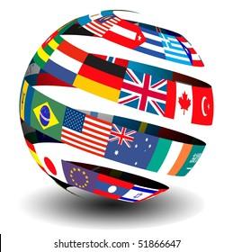 Flag spiral globe