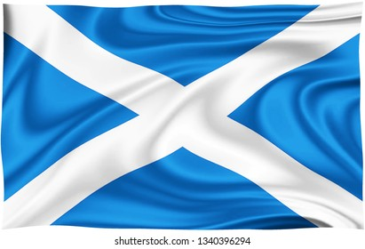 Flag of ST ANDREW S SALTIRE SCOTTISH isolated on a white background with clipping path 3D illustration