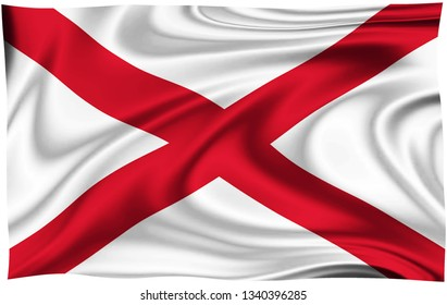 Flag of ST. PATRICK SALTIRE IRISH Location of England isolated on a white background with clipping path