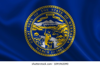 """Flag of the state Nebraska. A series of """"flags of the United States of America"""""""