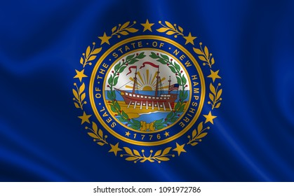 """Flag of the state New Hampshire. A series of """"flags of the United States of America"""""""