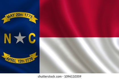 "Flag of the state North Carolina. A series of ""flags of the United States of America"""
