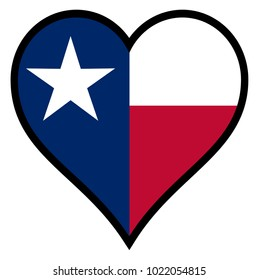 The flag of the state of Texas within a heart all over a white background