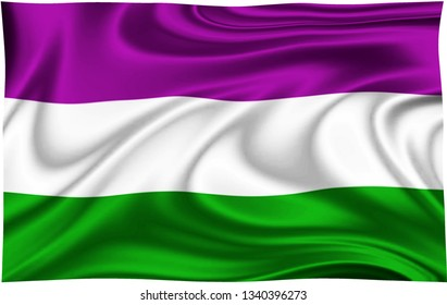 Flag of SUFFRAGETTE  COUNTY Location of England isolated on a white background with clipping path 3D illustration