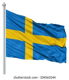 Flag of Sweden with flagpole waving in the wind against white background