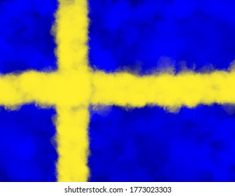 The Flag of Sweden formed from powder explosions in blue and yellow