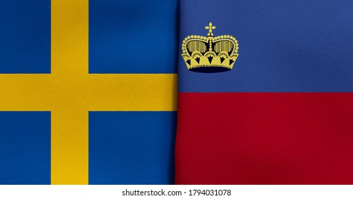 Flag of Sweden and Liechtenstein - 3D illustration. Two Flag Together - Fabric Texture