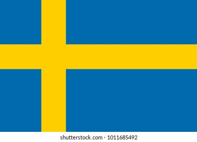 Flag of Sweden. Symbol of Independence Day, souvenir soccer game, button language, icon.
