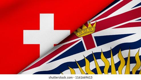 Flag of Switzerland and British Columbia