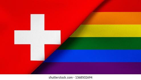 Flag of Switzerland and Rainbow flag (LGBT movement)