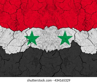 Flag of Syria on rugged wall full of scratches - metaphor of problem and crisis leading to collapse of country - syrian civil war between government, rebels and islamic state (daesh)