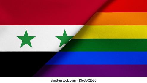 Flag of Syria and Rainbow flag (LGBT movement)