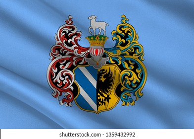 Flag of Szeged is the third largest city of Hungary and county seat of Csongrad county. 3d illustration