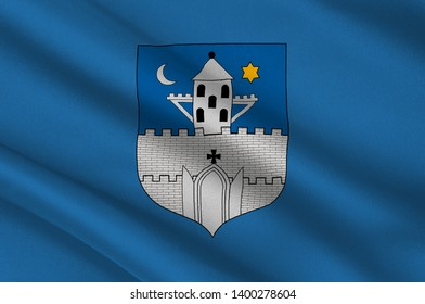 Flag of Szombathely is the 10th largest city in Hungary. 3d illustration