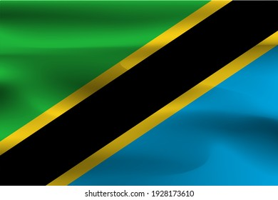 The flag of Tanzania is beautiful, wrinkled with flying flags.
