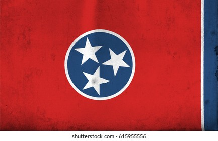 Flag of Tennessee, United States of America, with an old, vintage style