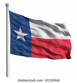 Flag of the Texas. Rendered with fabric texture (visible at 100%). Clipping path included.