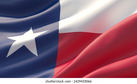 Flag of Texas - United States of America states flags collection. 3D illustration.