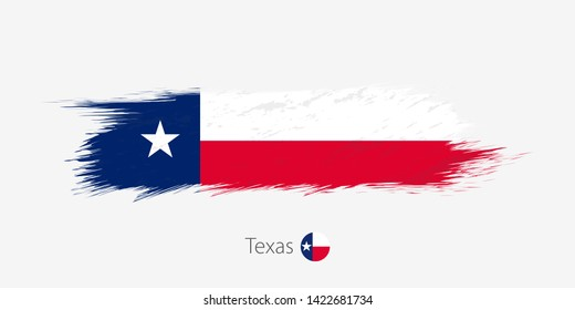 Flag of Texas US State, grunge abstract brush stroke.