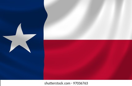 Flag of Texas waving in the wind detail