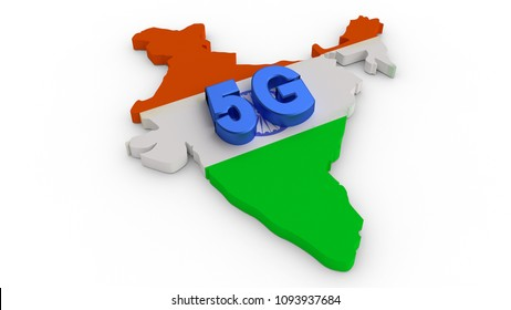 Flag textured india map behind 5G letters on isolated white background. Made with 3d rendering...